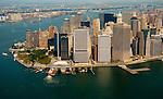 Aerial view of Lower Manhattan, post 9/11, view Northwest towards Jersey