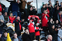 Fleetwood Town fans celebrate their teams goal, scored by Ashley Nadesan<br /> <br /> Photographer Chris Vaughan/CameraSport<br /> <br /> The EFL Sky Bet League One - Saturday 23rd February 2019 - Burton Albion v Fleetwood Town - Pirelli Stadium - Burton upon Trent<br /> <br /> World Copyright © 2019 CameraSport. All rights reserved. 43 Linden Ave. Countesthorpe. Leicester. England. LE8 5PG - Tel: +44 (0) 116 277 4147 - admin@camerasport.com - www.camerasport.com