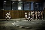 Tokyo, March 31 2013 - Former professionnal sumo wrestler Shinichi Taira coaching at an amateur sumo club in the Asakusa area.