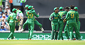 June 18th 2017, The Kia Oval, London, England;  ICC Champions Trophy Cricket Final; India versus Pakistan; Shadab Khan of Pakistan celebrates with team mates after catching Virat Kohli of India