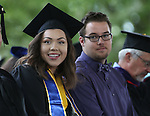 Outgoing Associated Students of Western Nevada President Andrea Senda and incoming President Cody Shepard pose at the 45th annual Western Nevada College Commencement ceremony in Carson City, Nev., on Monday, May 23, 2016. A record 556 graduates received 598 degrees.<br />