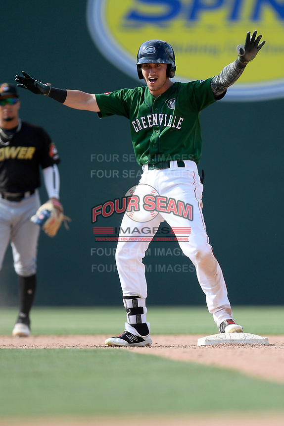 Left fielder Jordan Wren (3) of the Greenville Drive shouts to teammates after hitting a double in a game against the West Virginia Power on Sunday, May 19, 2019, at Fluor Field at the West End in Greenville, South Carolina. Greenville won, 8-4. (Tom Priddy/Four Seam Images)
