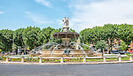 The fountain located in the main traffic circle (La Rotonde) of Aix-en-Provence, Provence, France