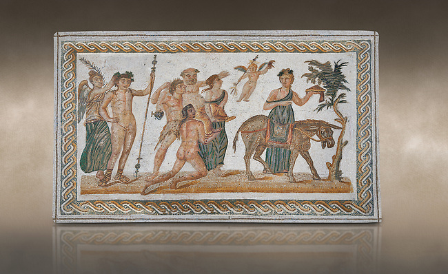 Picture of a Roman mosaics design depicting scenes from the Life of Dionysus, from the ancient Roman city of Thysdrus, House of Silenus. Late 2nd to early 3rd century AD. El Djem Archaeological Museum, El Djem, Tunisia. Against an art background<br /> <br /> In the central panel of this Roman mosaic the  teacher of Dionysus, Silenus, is being carried towards a donkey.