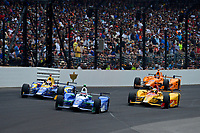 Verizon IndyCar Series<br /> Indianapolis 500 Race<br /> Indianapolis Motor Speedway, Indianapolis, IN USA<br /> Sunday 28 May 2017<br /> Takuma Sato, Andretti Autosport Honda, Alexander Rossi, Andretti Herta Autosport with Curb-Agajanian Honda, Ryan Hunter-Reay, Andretti Autosport Honda, Fernando Alonso, McLaren-Honda-Andretti Honda<br /> World Copyright: F. Peirce Williams<br /> LAT Images