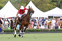 WELLINGTON, FL - MARCH 26:  Julian de Lusarreta of Coca Cola controls the ball while the crowd watches as Valiente defeats Coca Cola 9-6 in the final of the 26 goal  USPA Gold Cup, at the International Polo Club, Palm Beach on March 26, 2017 in Wellington, Florida. (Photo by Liz Lamont/Eclipse Sportswire/Getty Images)