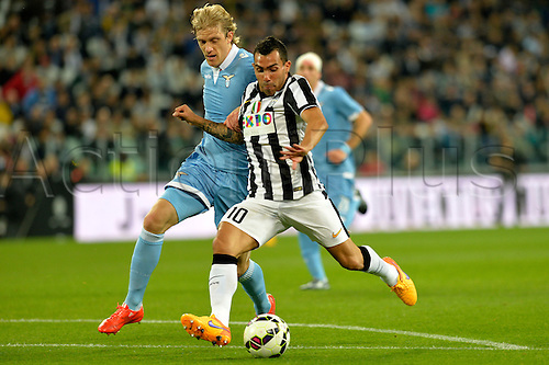 19.04.2015.  Turin, Italy. Serie A Football. Juventus versus Lazio. From a fast counterattack Carlos Tevez scores the first goal for Juventus