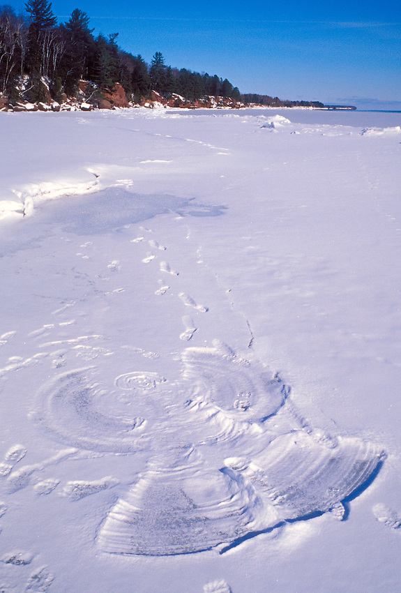 "A snow angel on the ""beach"" of Big Bay Town Park on Madeline Island, Wis."
