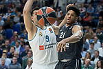 Real Madrid Felipe Reyes and Brose Bamberg Augustine Rubit during Turkish Airlines Euroleague match between Real Madrid and Brose Bamberg at Wizink Center in Madrid, Spain. April 06, 2018. (ALTERPHOTOS/Borja B.Hojas)