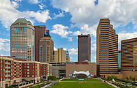 Columbus Commons and skyline