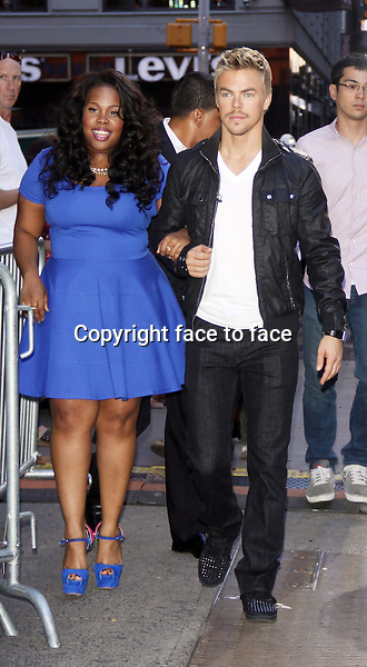September 04, 2013 Amber Riley (Glee), with Derek Hough at Good Morning America for the announcement of the new contestants for season 17 of Dancing with the Stars in New York City.Credit:RW/MediaPunch Inc.<br /> Credit: MediaPunch/face to face<br /> - Germany, Austria, Switzerland, Eastern Europe, Australia, UK, USA, Taiwan, Singapore, China, Malaysia, Thailand, Sweden, Estonia, Latvia and Lithuania rights only -