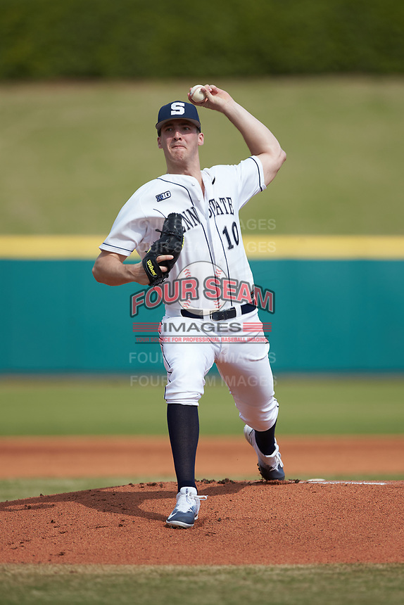 Penn State Nittany Lions starting pitcher Taylor Lehman (10) in action against the Xavier Musketeers at Coleman Field at the USA Baseball National Training Center on February 25, 2017 in Cary, North Carolina. The Musketeers defeated the Nittany Lions 10-4 in game one of a double header. (Brian Westerholt/Four Seam Images)