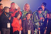 SCHAATSEN: AMSTERDAM: Olympisch Stadion, 28-02-2014, KPN NK Sprint/Allround, Coolste Baan van Nederland, Huldiging Olympische medaillewinnaars, Lotte van Beek, Koen Verweij, Ireen Wüst, Sven Kramer, ©foto Martin de Jong