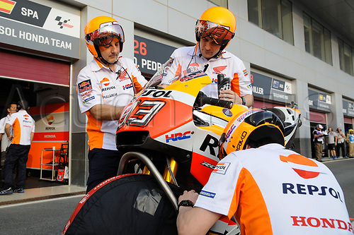 March 26th 2017, Doha, Qatar; MotoGP Grand Prix Qatar;  Repsol team at work readying their bike
