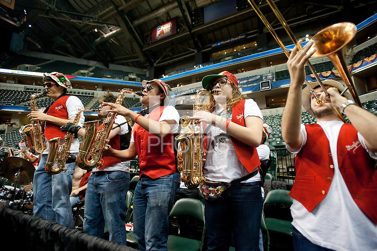 INDIANAPOLIS, IN - APRIL 2, 2011: The Stanford Band during an open practice session at Conseco Fieldhouse at the NCAA Final Four in Indianapolis, IN on April 1, 2011.
