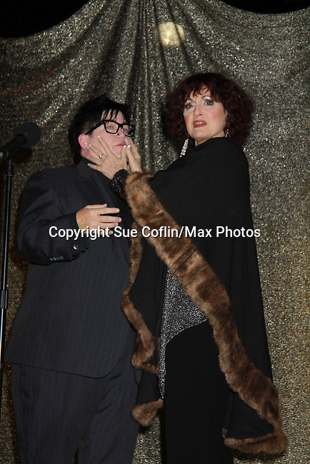 One Life To Live Lea Delaria poses with Robin Strasser at ICNY (Imperial Court of New York): Daytime Meets Nighttime Cabaret benefitting LifeBeat: Music Fights HIV and Jan Hus Neighborhood Church, two organizations giving back to the community at November 4, 2011 at the Jan Hus Playhouse Theatre, New York City, New York. (Photo by Sue Coflin/Max Photos)