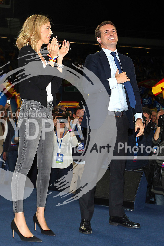 The closing of the campaign of the PP (Partido Popular) party, on Sunday the 28th are the general elections, at WiZink Center in Madrid on April 26, 2019.<br /> President of PP, Pablo Casado and his wife Isabel Torres