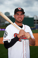 Nashville Sounds third baseman Renato Nunez (34) poses for a photo before a game against the Iowa Cubs on May 3, 2016 at First Tennessee Park in Nashville, Tennessee.  Iowa defeated Nashville 2-1.  (Mike Janes/Four Seam Images)