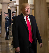 United States President-elect Donald Trump arrives for his inauguration ceremony at the Capitol in Washington, Friday, Jan. 20, 2017. Trump, a real estate mogul and reality television star who upended American politics and energized voters angry with Washington, will be sworn in as the 45th president of the United States, putting Republicans in control of the White House for the first time in eight years. <br /> Credit: J. Scott Applewhite / Pool via CNP