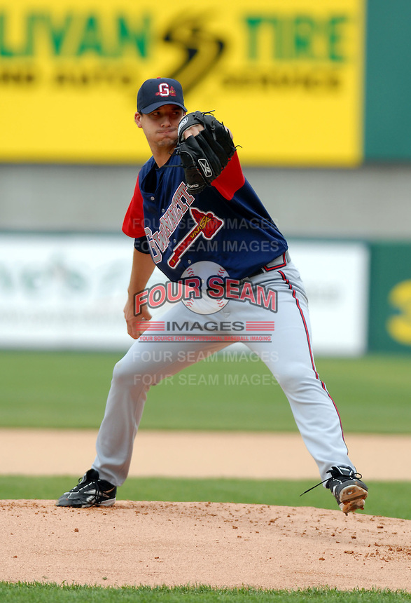 RHP Charlie Morton of the Gwinnett Braves, the AAA International League affiliate of the Atlanta Braves, at McCoy Stadium in Pawtucket, RI 5-3-09 (Photo by Ken Babbitt/Four Seam Images)