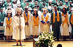 WATERBURY CT. 21 June 2017-062117SV12-Essence Medina, 17, sings the National Anthem during the Wilby High Graduation in Waterbury Wednesday. <br /> Steven Valenti Republican-American