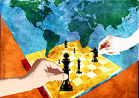 Two people playing chess with world map