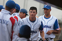 26 july 2010: Kenji Hagiwara of France is congratulated by teammates after he scores during France 10-2 victory over Ukraine, in day 4 of the 2010 European Championship Seniors, in Neuenburg, Germany.