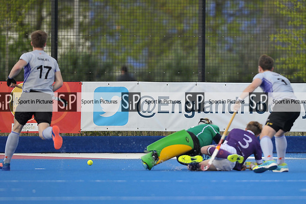 GRAHAM Tom (Durham University) dives in to score the Durham University second goal. Durham University v Sevenoaks. Playoffs 4. Men's Hockey League Promotion Tournament. Investec Women's League Finals. Lee Valley Hockey & Tennis Centre, London E20 3AD 22/04/2017. ~ MANDATORY CREDIT Garry Bowden/SIPPA - NO UNAUTHORISED USE - +44 7837 394578