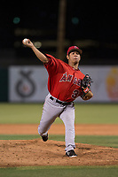 AZL Angels relief pitcher Kiber Arvelaez (31) delivers a pitch during an Arizona League game against the AZL Indians 2 at Tempe Diablo Stadium on June 30, 2018 in Tempe, Arizona. The AZL Indians 2 defeated the AZL Angels by a score of 13-8. (Zachary Lucy/Four Seam Images)