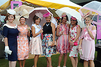 Pictured enjoying the summer fayre on the Ross Hotel / Lane Bar Champagne &amp; Cocktail Marquee at Killarney Races ladies Day on Thursday were from left, Eileen Kennedy, Mary Woulfe,  Siobhan Kennedy, Jean Leahy, Aileen O'Connor, Katherina O'Connor and Anne-Marie O'Connor all from Abbeyfeale.<br /> Picture by Don MacMonagle<br /> <br /> <br /> PR Photo from Ross Hotel