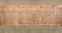Ancient Egyptian Book of the Dead papyrus - Spell 51 for not walking upside down in gods domain, Iufankh's Book of the Dead, Ptolomaic period (332-30BC).Turin Egyptian Museum. <br /> <br /> The translation of  Iuefankh's Book of the Dead papyrus by Richard Lepsius marked a truning point in the studies of ancient Egyptian funereal studies.