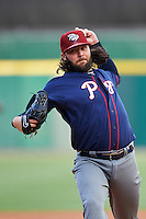 Lehigh Valley IronPigs starting pitcher James Russell (18) delivers a warmup pitch during a game against the Buffalo Bisons on July 9, 2016 at Coca-Cola Field in Buffalo, New York.  Lehigh Valley defeated Buffalo 9-1 in a rain shortened game.  (Mike Janes/Four Seam Images)