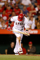 Josh Hamilton #32 of the Los Angeles Angels bats against the Kansas City Royals at Angel Stadium on May 14, 2013 in Anaheim, California. (Larry Goren/Four Seam Images)