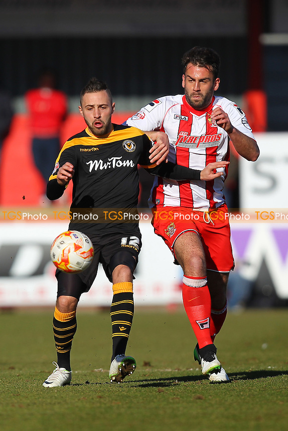 Robbie Willmott of Newport County and Simon Walton of Stevenage - Stevenage vs Newport County - Sky Bet League Two Football at the Lamex Stadium, Broadhall Way, Stevenage - 07/03/15 - MANDATORY CREDIT: Gavin Ellis/TGSPHOTO - Self billing applies where appropriate - contact@tgsphoto.co.uk - NO UNPAID USE