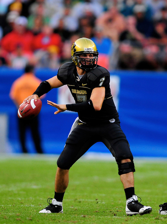 31 Aug 2008: Colorado quarterback Cody Hawkins passes against Colorado State. The Colorado Buffaloes defeated the Colorado State Rams 38-17 at Invesco Field at Mile High in Denver, Colorado.. FOR EDITORIAL USE ONLY