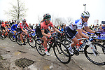 The peloton on the Padderstraat during the Women Elite 2019 Ronde Van Vlaanderen Dames running 150km from Oudenaarde to Oudenaarde, Belgium. 7th April 2019.<br /> Picture: Eoin Clarke | Cyclefile<br /> <br /> All photos usage must carry mandatory copyright credit (© Cyclefile | Eoin Clarke)