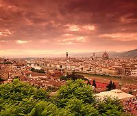 Italy, Tuscany, Florence: City View from Piazza Michelangelo | Italien, Toskana, Florenz: Stadtansicht von der Piazza Michelangelo