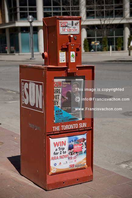 A Toronto Sun newspaper box is seen in Toronto April 19, 2010. The Toronto Sun is an Quebecor owned English-language daily tabloid newspaper published in Toronto, Ontario, Canada.