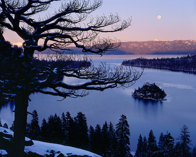 Winter moonrise at sunset over Lake Tahoe; Lake Tahoe, CA