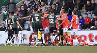 Tempers flare after a late challenge on Dan Potts of Luton Town during the Sky Bet League 2 match between Plymouth Argyle and Luton Town at Home Park, Plymouth, England on 19 March 2016. Photo by Liam Smith.