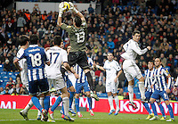 Real Madrid's Cristiano Ronaldo against Espanyol's Francisco Casilla during La Liga match. December 16, 2012. (ALTERPHOTOS/Alvaro Hernandez)