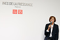 French model and fashion designer Ines de la Fressange speaks during a media event for Uniqlo x Ines de La Fressange AW17 collection, on September 5, 2017, Tokyo, Japan. Japanese casual clothing chain Uniqlo and French fashion icon Ines de la Fressange are collaborating with a Fall/Winter 2017 collection which is being sold in selected Uniqlo stores from September 1st. (Photo by Rodrigo Reyes Marin/AFLO)