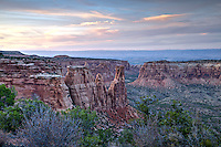 Highlighting Independence Rock in the Colorado National Monumnet at sunset.
