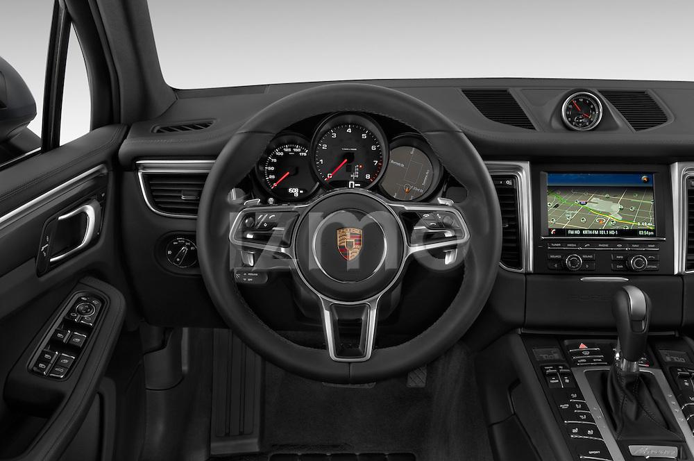 Car pictures of steering wheel view of a 2018 Porsche Macan S 5 Door SUV Steering Wheel