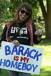YOUNG WOMAN HOLDS SIGN DISPLAYING HER SUPPORT FOR BARACK OBAMA DURING the 2008 DEMOCRATIC CONVENTION