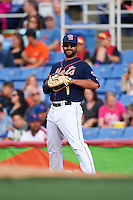 Binghamton Mets first baseman Vince Belnome (9) during a game against the Trenton Thunder on August 8, 2015 at NYSEG Stadium in Binghamton, New York.  Trenton defeated Binghamton 4-2.  (Mike Janes/Four Seam Images)