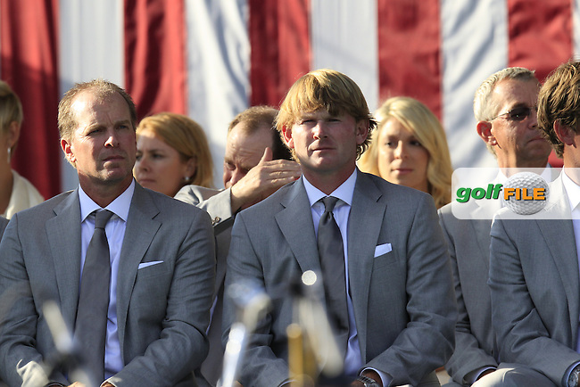USA Team Players Steve Stricker and Brandt Snedeker at the Opening Ceremony during Thursday's Practice Day of the 39th Ryder Cup at Medinah Country Club, Chicago, Illinois 27th September 2012 (Photo Eoin Clarke/www.golffile.ie)