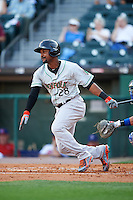 Norfolk Tides center fielder L.J. Hoes (28) at bat during a game against the Buffalo Bisons on July 18, 2016 at Coca-Cola Field in Buffalo, New York.  Norfolk defeated Buffalo 11-8.  (Mike Janes/Four Seam Images)