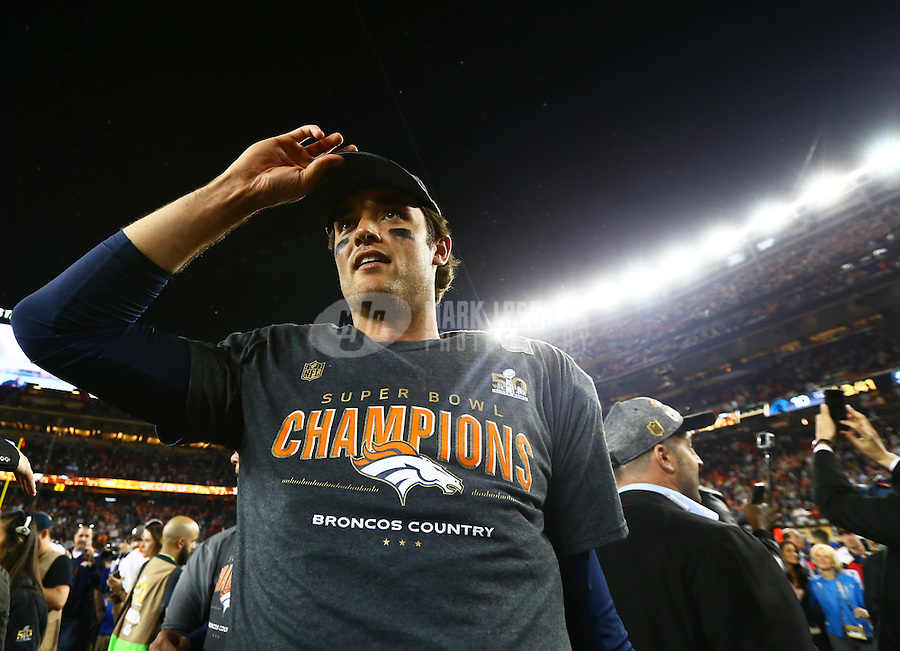 Feb 7, 2016; Santa Clara, CA, USA; Denver Broncos quarterback Brock Osweiler celebrates after defeating the Carolina Panthers in Super Bowl 50 at Levi's Stadium. Mandatory Credit: Mark J. Rebilas-USA TODAY Sports