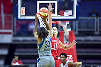 Washington, DC - May 27, 2018: Washington Mystics guard Elena Delle Donne (11) goes up for a block against Minnesota Lynx forward Rebekkah Brunson (32) during game between the Mystics and Lynx at the Capital One Arena in Washington, DC. (Photo by Phil Peters/Media Images International)